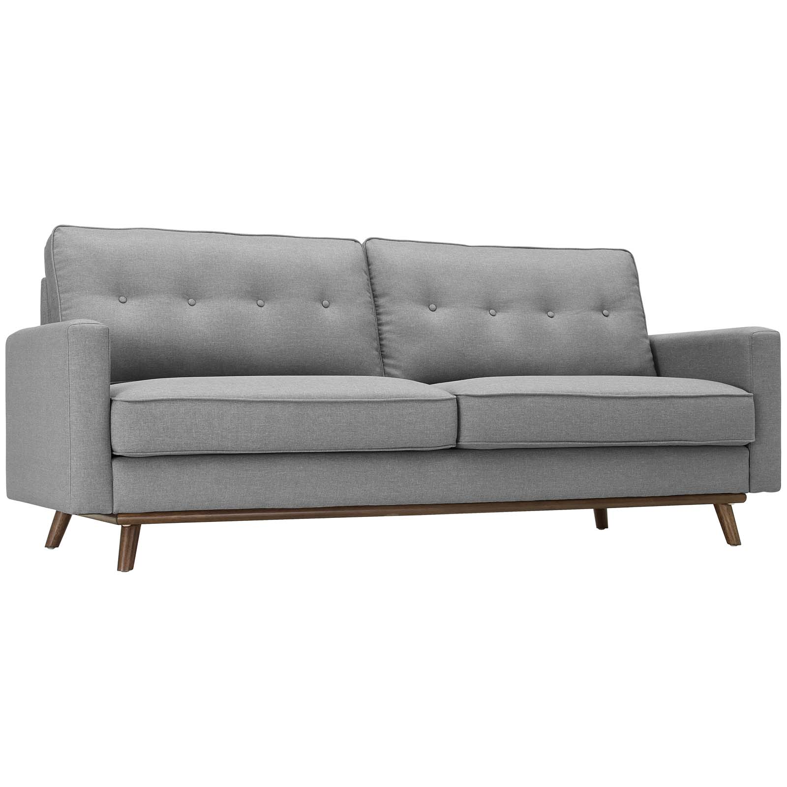 Vassie 3-Seater Sofa (Light Gray/Wood)